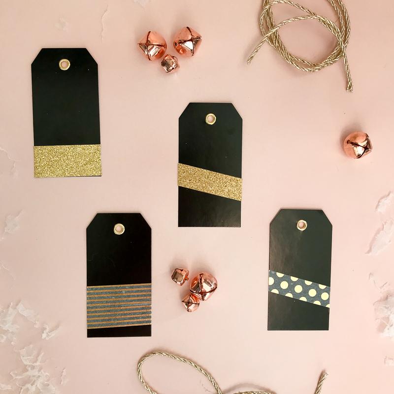 Tutorial DIY Black + Gold Gift Tags