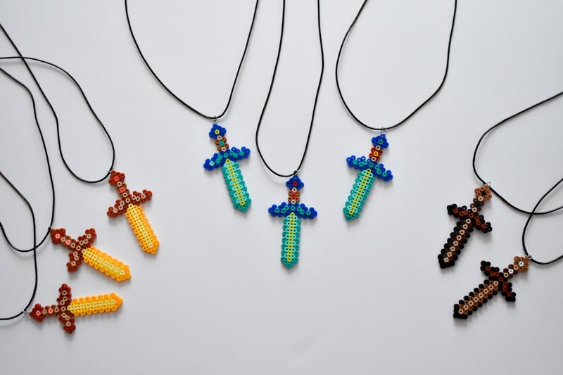 DIY Minecraft Perler Bead Necklace Party Favors