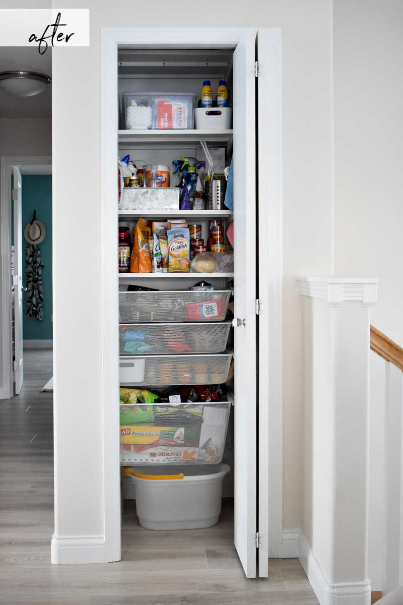 How To Turn A Hall Closet Into An Organized Pantry Closet
